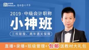 2019年中级会计小神班(三科联报,两年通关保障)